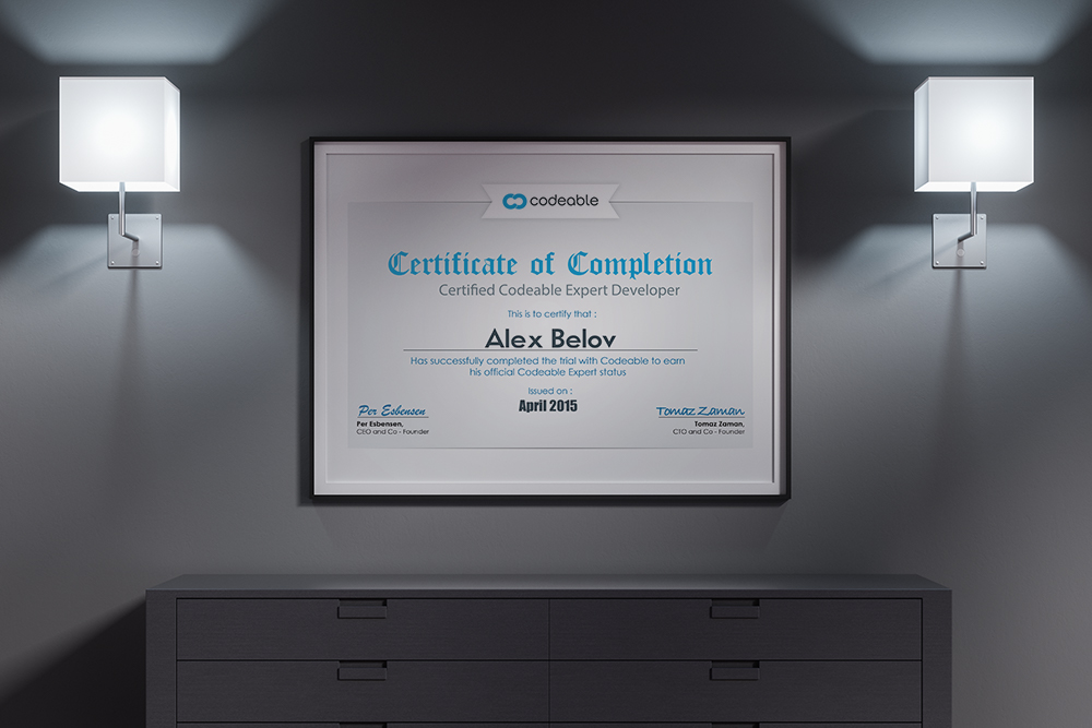 Certificate of Codeable for Alex Belov